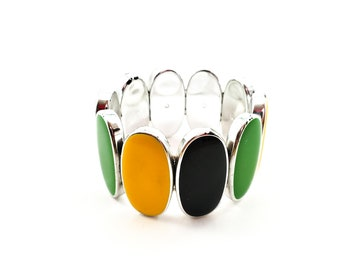 Super Pretty Elasticized Oval Tile Lucite Bracelet in Black, Yellow, Green and Gold