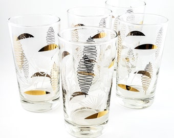 5 Mid Century Gilt Tumblers with Stylized Bee Hive and Gold and White Leaf Motif
