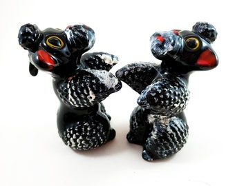 Black and White Salt and Pepper Poodles with Stoppers