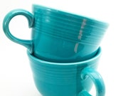 Beautiful Vintage Fiesta Ware Turquoise Blue Tea Cups - Made by Homer Laughlin