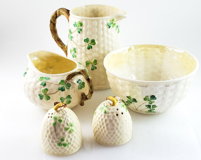 GORGEOUS Hand Painted Belleek Shamrock Pattern 5 piece Set including Open Sugar Bowl, Creamer, Mini Milk Pitcher and Salt and Pepper Shakers