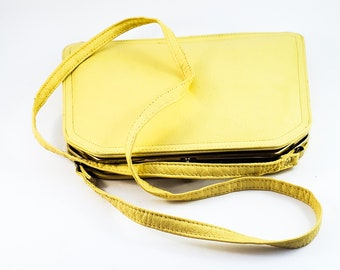 Gorgeous 1970's Vintage Buttery Yellow Lined Cabrelli Leather Handbag with Shoulder Strap