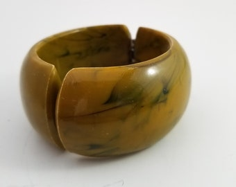 Fab Acrylic Amber/Green Hinged Bracelet with Black Marbling