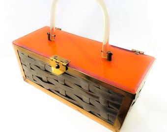 Vintage Stunning 1950's Butterscotch Bakelite and Woven Metal Handbag/Purse with Lucite Strap and brass Hardware
