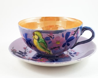 Stunning Vintage Lustreware Porcelain Hand Painted Luminous Tea Cup in Periwinkle Blue and Peach  with Florals and Parrot