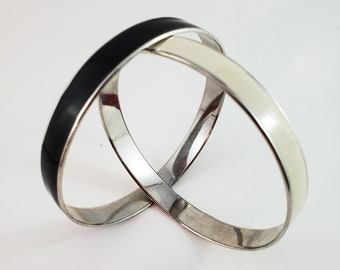 Vintage Black and Tan Modernist Bangles, Black Chrome and Tan Chrome Bangle SET