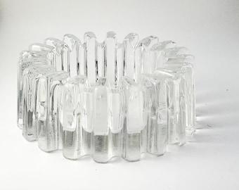 Gorgeous Round Ribbed Glass Ashtray/Trinket Dish, Vintage 1940's Heisey Glass Large Round Ridgeleigh Pattern Crystal Ribbed Ashtray