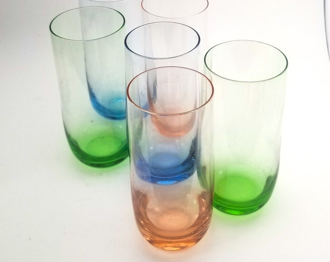 Set of 6 Vintage Jewel Tone Bar Glasses