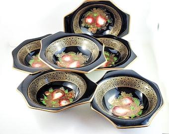 """Set 6 Antique English 19C Porcelain Victorian Chrome Pottery Fruit Bowls Soho Pottery Cobridge, 6.5"""" A"""