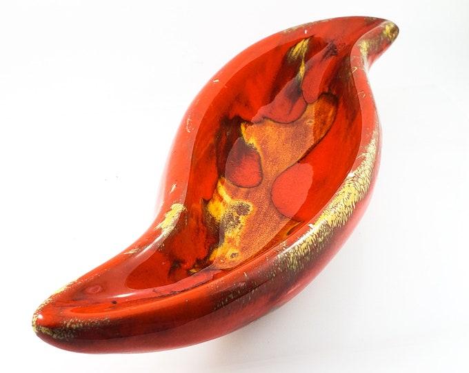 Fabulous Mid Century Deep Orange Drip Glaze Ashtray/Trinket Dish with Gold and Black Accents