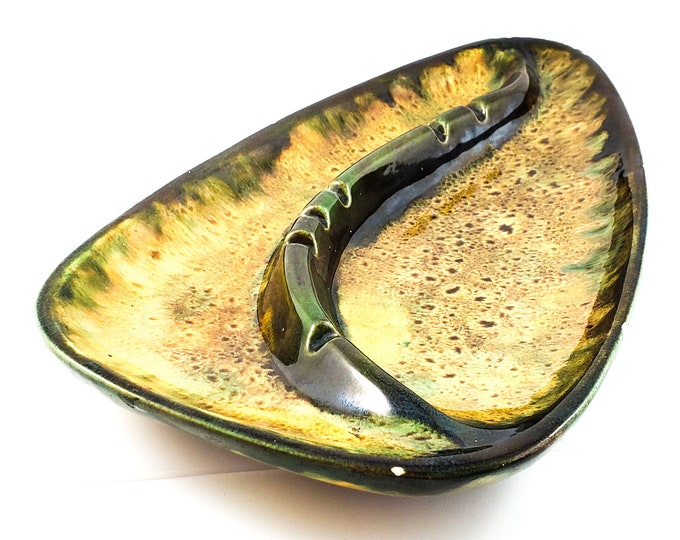 Fabulous Mid Century Brown and Yellow and Green Splatter Glaze Ashtray/Trinket Dish