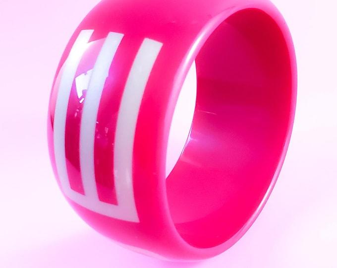 Stunning Pink Acrylic Holt Renfrew Retro Bangle