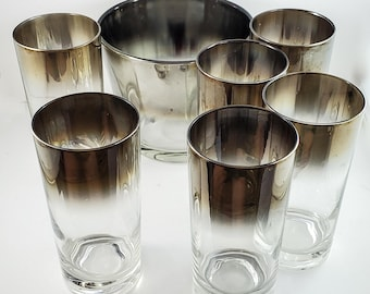 Gorgeous 7 Piece Mid Century Silvered Ombre Glasses and Ice Bucket