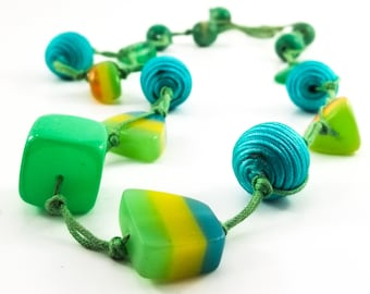 Gorgeous Chunky Acrylic Bead Necklace with Beautiful Turquoise Fabric Beads