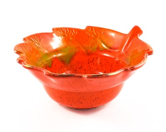 Fabulous Mid Century Deep Orange Lava Fire Pottery Drip Glaze Leaf Bowl with Yellow and Gold Accents, Marked USA Calif 816