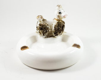Adorable White and Gold Puppy Ceramic Ashtray/Trinket Dish with Gilded Fur, ears and Topknot and Baby Blue Eyes