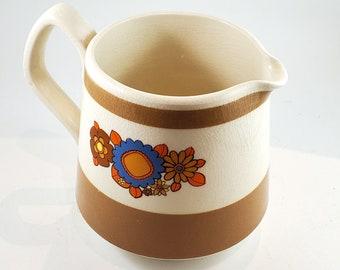 60s Flower Power Sadler Milk Pitcher, Boho Kitchen, Stoneware, Staffordshire England