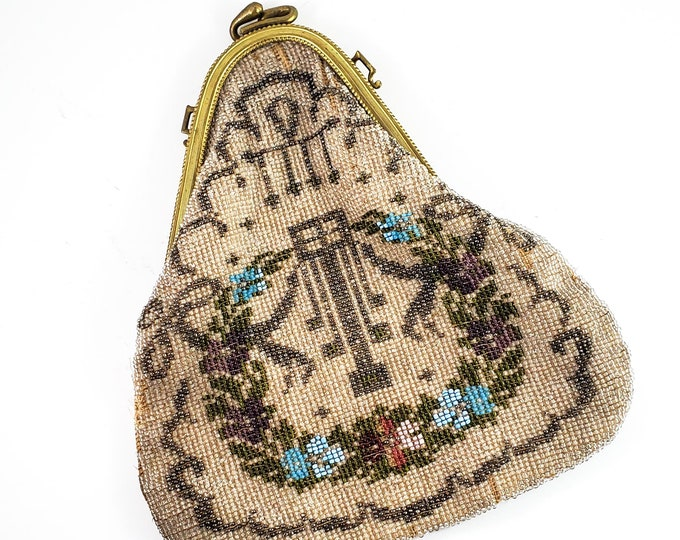 Magnificent Hand Beaded Evening Bag in Cream, Blue, Red and Pink, Antique 1900s Handbag Kiss Lock-  Vintage