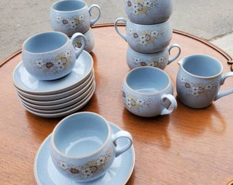 Gorgeous Denby 17 Piece Stoneware Powder Blue Speckled Cup and Saucer Set Marked Reflections.  7 Cups and Saucers, extra saucer and Creamer