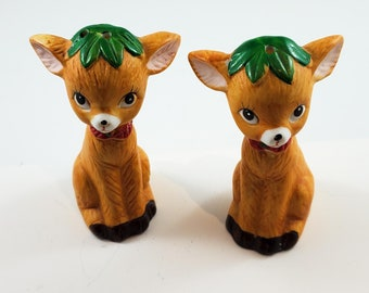 Darling Doe/Fawn Salt and Pepper Shakers with Red Neck ribbons and Green Leaf Head Toppers