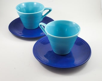 Fabulous Blue on Bluel Vintage Fiesta Ware Turquoise Blue Tea Cups with Indigo Saucers - Made by Homer Laughlin. x2