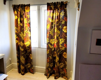 Art Deco Barkcloth Vintage Fabric Drape Curtain Panels, Autumn leaves