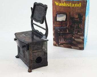 Miniature Bronze/Cast Iron Wash Stand Pencil Sharpener  with Mirror that swivels. Works! Stocking Stuffer!