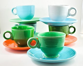 Beautiful Vintage Fiesta Ware Tea Cups and Saucers x 6  Made by Homer Laughlin in Pale Blue, Turquoise Blue, Orange and Green,