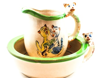 Adorable Vintage Kitty Bowl and Matching Creamer