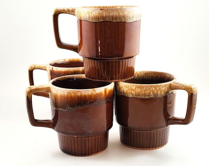 Set of 6 Super Cool Vintage Ceramic Stacking Mugs with D-handles and Drip Glaze Rims