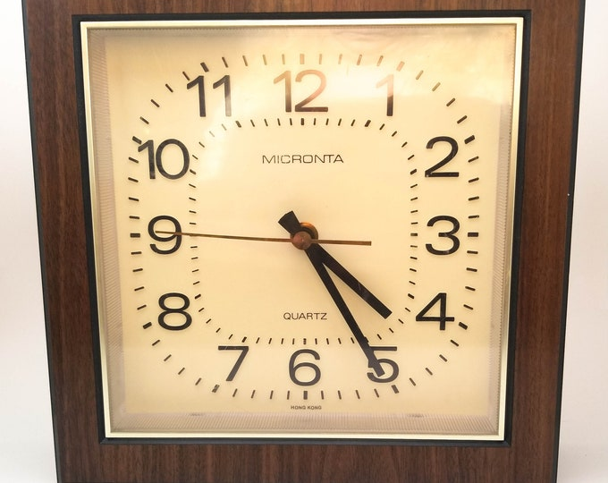 1960's Beige and Brown Micronta Wall Clock with Gold Sweeping Second Hand