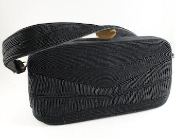 Stunning 1950's Vintage Black Corded Fabric Handbag/Purse with Brass Latch