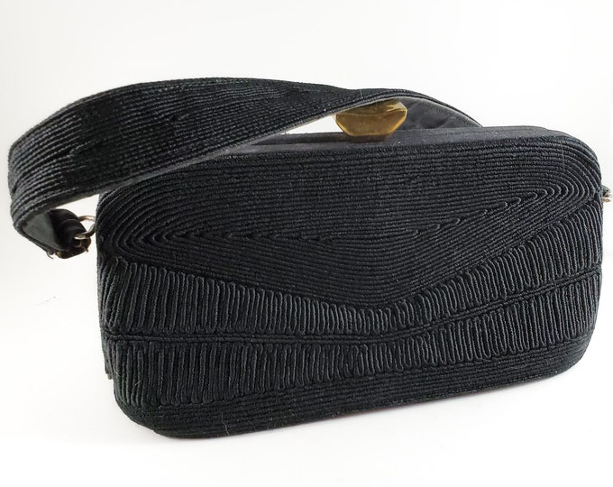 Stunning 1950's Vintage Black Corded Fabric Handbag/Purse with Brass Latch