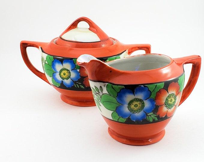 Hand Painted Lustre Multi colored Floral Pearlescent Porcelain Creamer & Sugar Set Japan