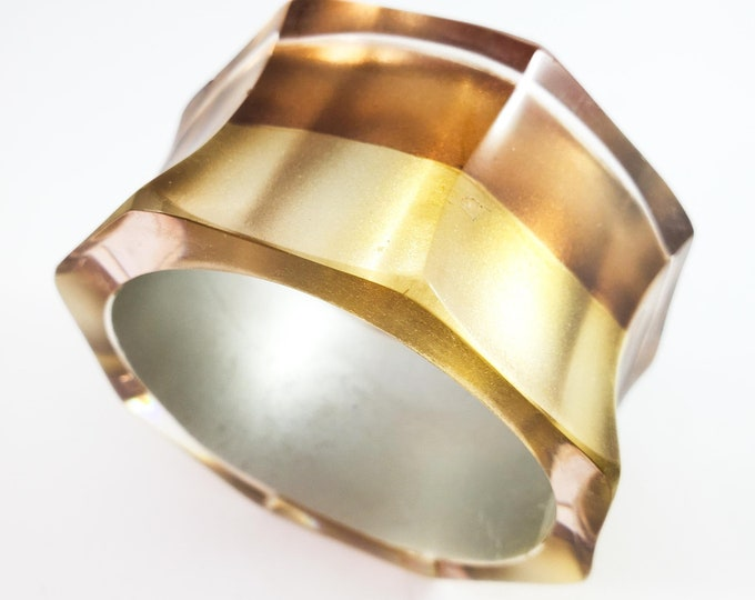 Gorgeous Gold and Copper Banding Octagonal Acrylic Bangle in with Gold Interior