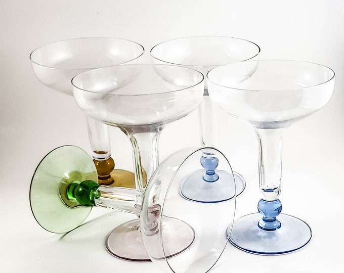 Mid Century Modern Jewel Tone Champagne Coupe/Flute Glasses, Set of 5