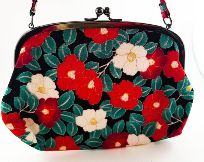Fabulous Boho Embroidered Floral Bag with Red and White Flowers and Bright Green Leaves on Black Background Back and Front