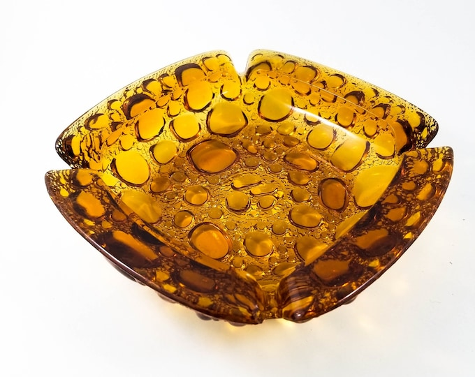 Fabulous Square Amber Bubble Glass Blenko Ashtray/Trinket Dish Large Amber Glass Bubble Ashtray | Mid Century Modern | Amber Trinket Dish
