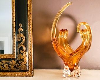 Amber Chalet Glass Basket, Murano Glass, Art Glass Basket