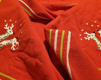 """Gorgeous Festive 1950's Bright Red Cotton Christmas Tablecloth with Embroidered Reindeer wearing Scarves! 60""""L x 50""""W"""
