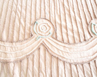 Fabulous Salmon Colored 1950's Chenille Bedspread with Swag Detailing