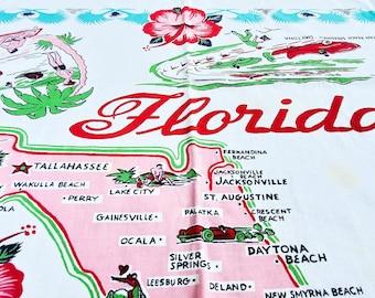 Fabulous 1950's Florida Almost Square Cotton Tablecloth Classic 1950's Florida Scenes Motif