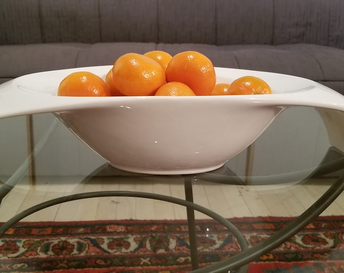 Gorgeous White Ceramic Winged Fruit Bowl