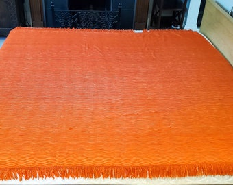 Gorgeous Orange Colored Double Fringed Chenille Bedspread in WAVY Ribbed Pattern