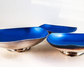 Gorgeous Mid Century Kronen Danish Silver-Plate and Blue Enamel Bowls. 3 sizes Footed Bowl Snack Set in Iridescent Blue
