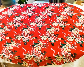 """1950's Red Round Cotton Tablecloth with Floral Design 58"""" Round"""