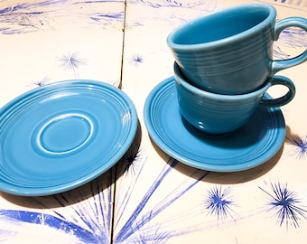 Beautiful Vintage Fiesta Ware Turquoise Blue Tea Cups - Made by Homer Laughlin. x2