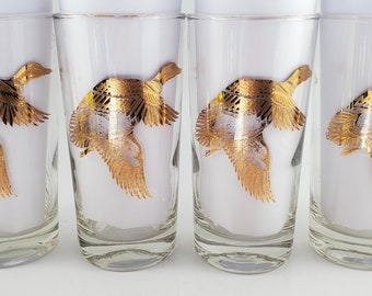 Wild Bird Hi Ball Whiskey Glasses Mid Century Barware. Set of 5.