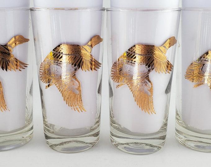 Wild Bird Hi Ball Whiskey Glasses Mid Century Barware. Set of 5.