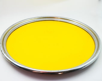 Vintage Mid Century Modern Yellow Formica Aluminum Laminate Tray with Silver Aluminum Rim.